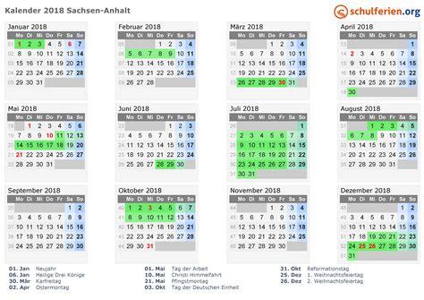Kalender 2018 Sachsen Kalender 2018 Ferien Sachsen Anhalt Feiertage