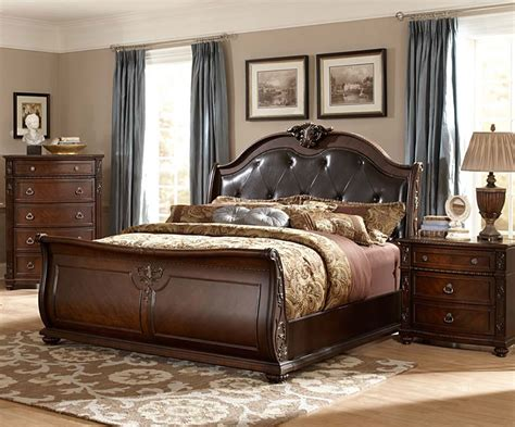 Sleigh Bed Headboards by Chicago Furniture Stores Sleigh Bed With Leather Headboard