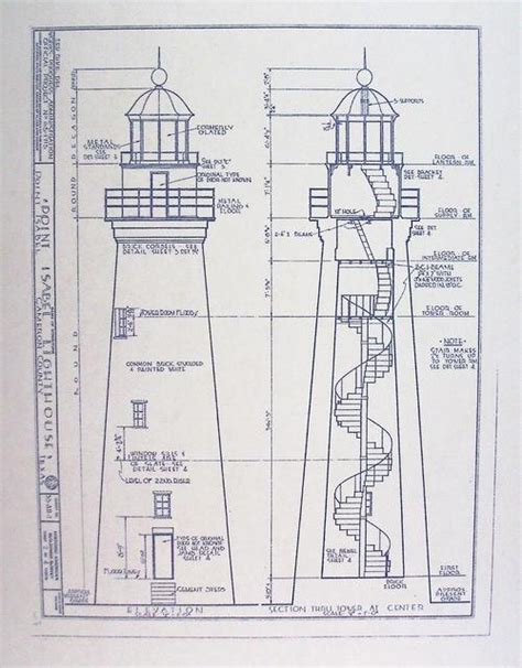 Lighthouse Floor Plans Point Isabel Lighthouse Blueprint By Blueprintplace On Etsy