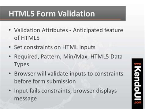 pattern html5 validation mvvm validation with kendo ui