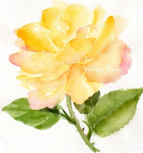 watercolor tattoo yellow rose yellow original watercolor painting floral flowers