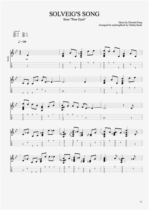 Tablature Wedding Bell by Solveig S Song By Edvard Grieg Ukulele Guitar Pro
