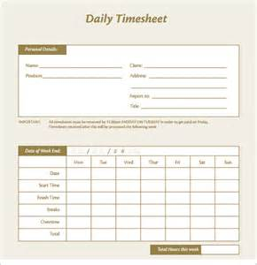 Daily Timesheet Template Excel Free by Daily Timesheet Template 10 Free For Pdf Excel