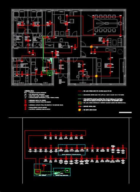 fire alarm system office building dwg block for autocad