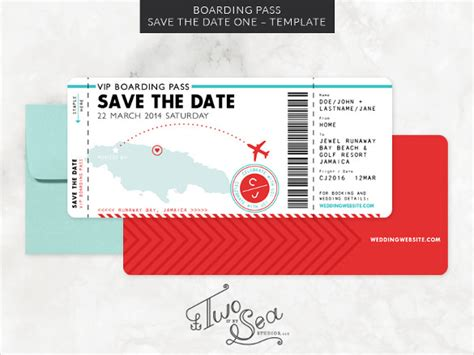 save the date design template boarding pass template