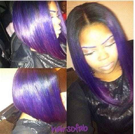 weave hairstyles with purple tips purple bob weave black invisiblepart bob weave