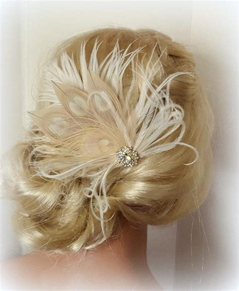 Wedding Hair With Fascinator by Chagne Ivory Feather Fascinator Wedding Hair