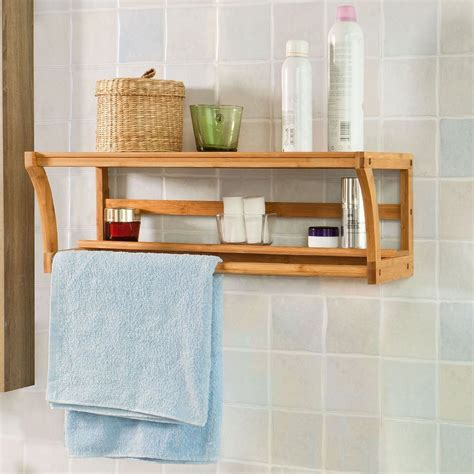 wood bathroom wall shelf bathroom wall mounted bamboo wood shelf rack towel rail