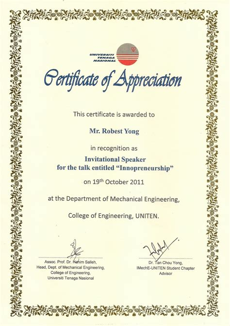 Robestyong 144 Talk At University Tenaga Uniten Certificate Of Appreciation For Speakers Template