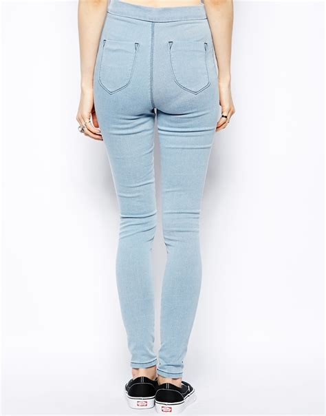 Highwaist Blue lyst asos high waist denim jeggings in light wash with zip detail in blue