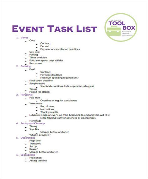 event task list template 22 task list sles in pdf