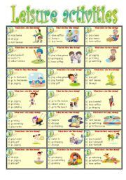 esl worksheets for beginners leisure activities
