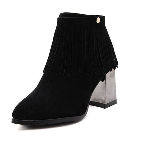 black suede boho fringed chunky heel ankle boots