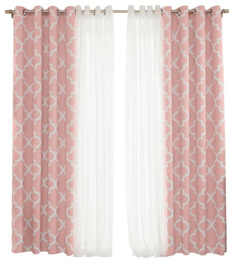 Pink Trellis Curtains Best Home Fashion Gathered Tulle And Moroccan Trellis 4 Darkening Curtain Set Curtains