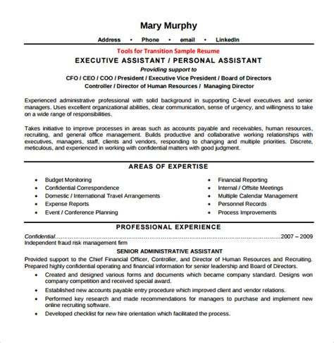 sle executive assistant resume 6 exles format