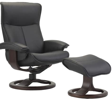 Scandinavian Recliner by Fjords Senator Ergonomic Leather Recliner Chair Ottoman