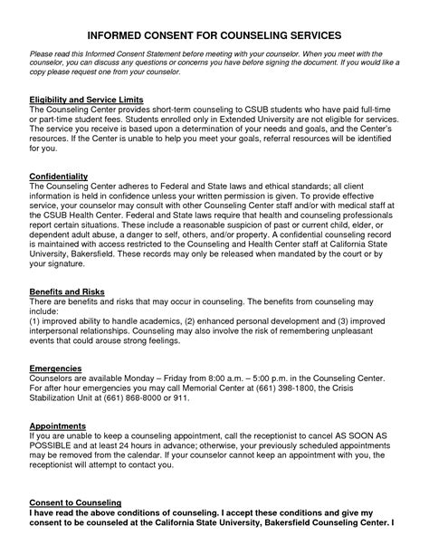 counselling consent form template best photos of template of informed consent form