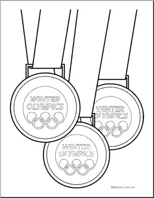 coloring sheet of a medal page medals sport winter