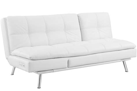 White Sofa Bed Leather White Leather Futon Sofa Bed Palermo Serta Lounger The Futon Shop