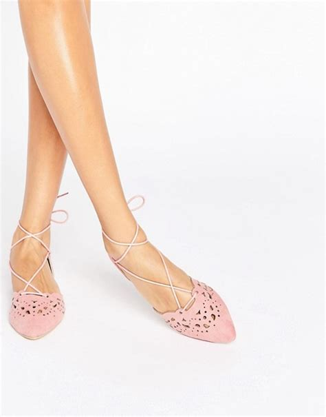 glamorous glamorous cut out tie up dusty pink point flat
