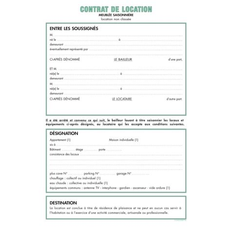 Modele Contrat Location Meublé