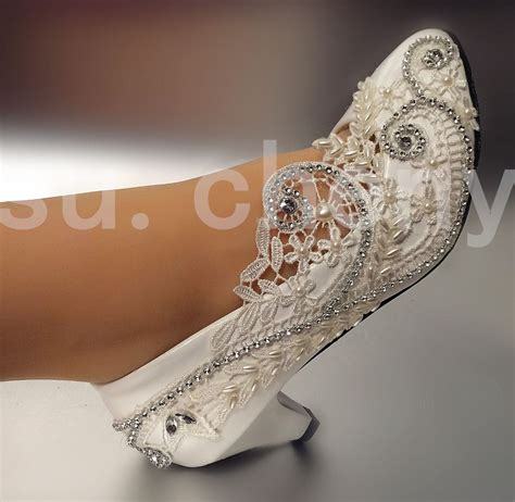 2 Heel Wedding Shoes by 2 Low Heel Lace White Light Ivory Wedding Shoes