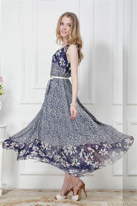 Maxi Free Belt blue sleeveless floral chiffon princess maxi dress