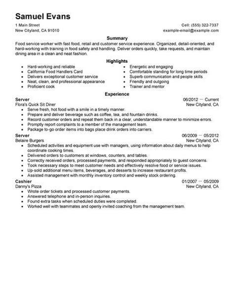 Resume Skills And Abilities For Fast Food Best Fast Food Server Resume Exle Livecareer