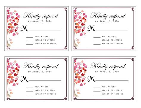 wedding rsvp cards template free free printable rsvp cards my