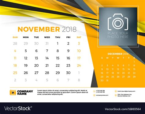 November 2018 Desk Calendar Design Template With Vector Image Calendar Design Template
