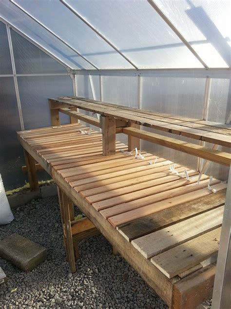 greenhouse bench design greenhouse shelves on pinterest greenhouse plans pallet