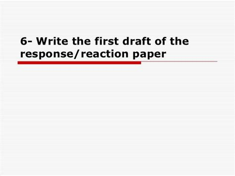 write a response paper how to write a reaction response paper