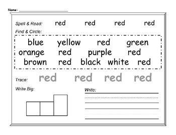 color words worksheet color words worksheet by kindergardenia teachers pay