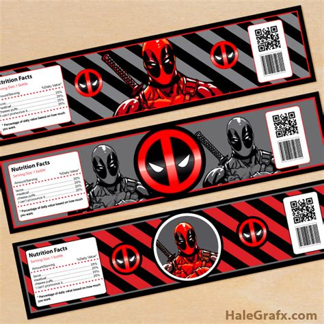 printable deadpool bookmarks free printable deadpool water bottle labels
