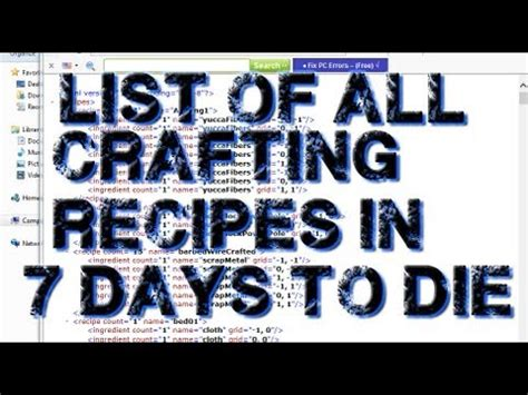 7 days list tutorial list of all crafting recipes in 7 days to die