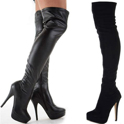 womens black stretch knee thigh high platform