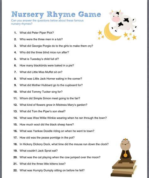 printable games for nursery nursery rhyme game trina s baby shower games pinterest