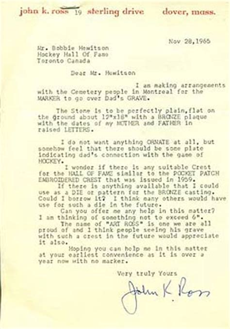 Letter To Use A Venue On November 28 1965 K Ross Sent This Letter To