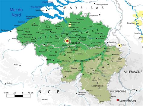 geographical map of belgium maps of belgium detailed map of belgium in