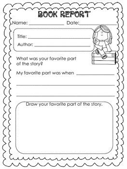 Free Book Report Templates For Kindergarten Book Report Templates For Kinder And Graders Book