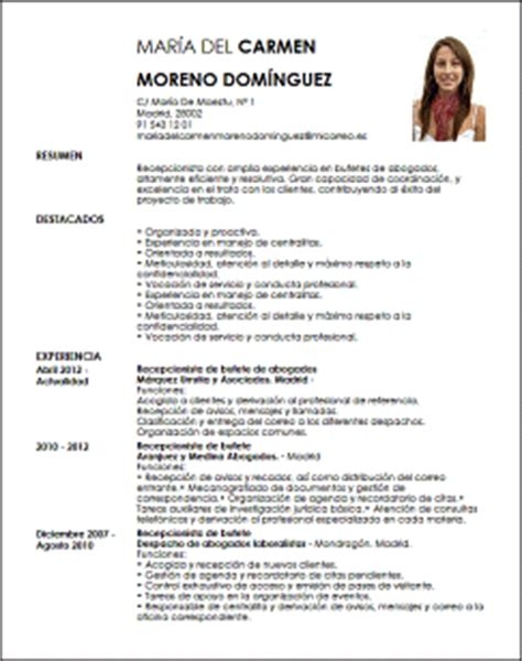 Plantilla Curriculum Para Abogado Modelo Cv Recepcionista De Bufete De Abogados Livecareer
