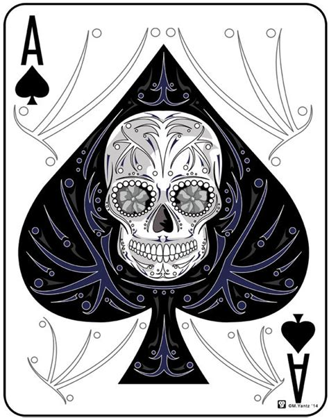 P Drawing An Ace From A Fair Deck Of Cards by Ace Of Spades Sugar Skull Card 11x14 Print Sugar