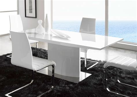 extremely contemporary white lacquered dining table with - White Table Dining