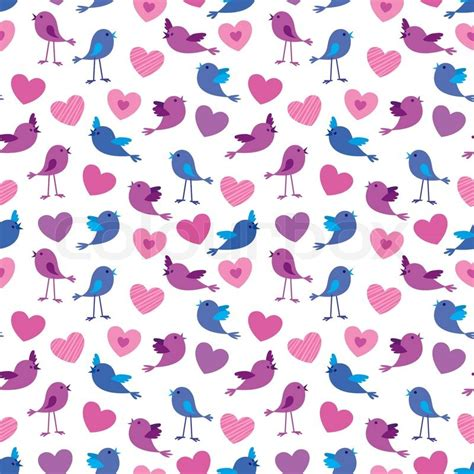 seamless pattern with birds and hears