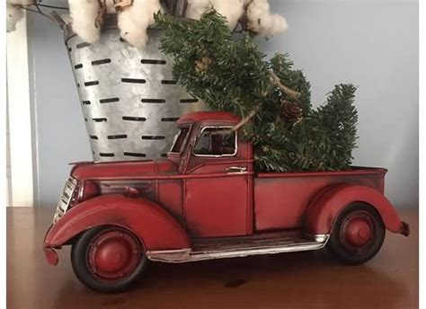 red christmas vintage pick ups for sale lil metal truck with tree tabletop
