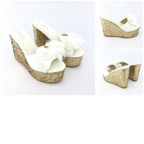 Sepatu Wanita Heel 12cm jual shw9067 white sepatu wedges cantik 12cm grosirimpor