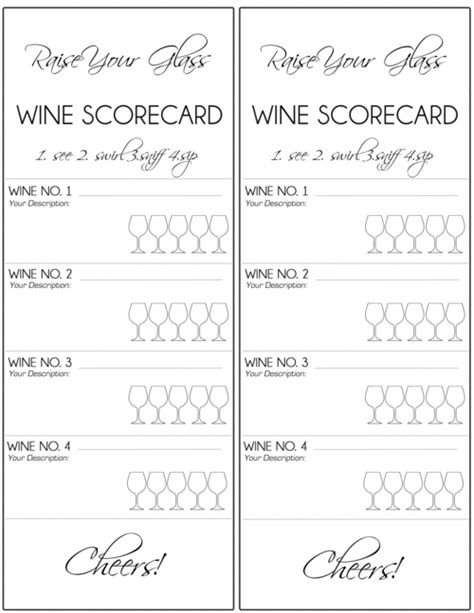 Printable Wine Tasting Note Cards | wine tasting score cards google search wine notes