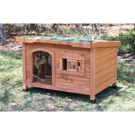 cedar wood dog house aspen cedar wood flat roof dog house small medium buy wood dog houses