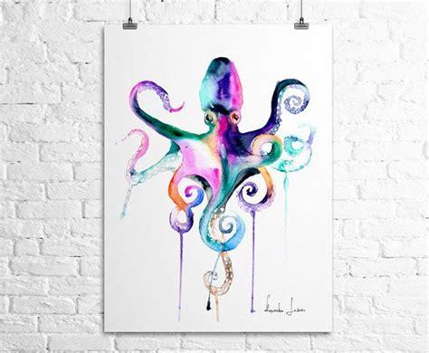 watercolor tattoo hessen octopus print sea animal watercolor by watercolorprint