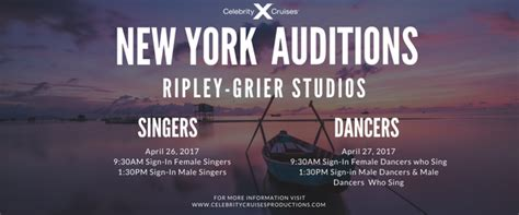 celebrity singers auditions open auditions for celebrity cruises at sea shows in nyc